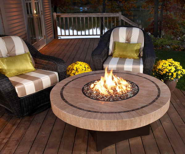 Propane Fire Pit Table With Yellow Green Cushion Chairs